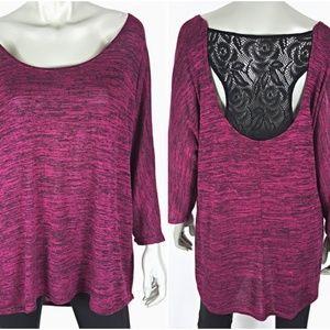 Plus Size 1X Pink Dolman Sleeve Lace Back Knit Top